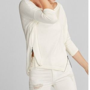 Express Ivory Side Zip Hi lo Hem Crew Neck Sweater